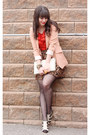 Brown-leopard-print-urban-behavior-skirt-peach-h-m-blazer