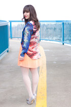blue watercolor Forever 21 blouse - coral neon Urban Outfitters skirt