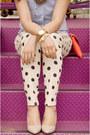 White-polka-dot-forever-21-jeans-coral-jcrew-bag