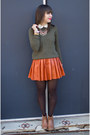 Camel-forever-21-boots-dark-green-elbow-patches-zara-sweater