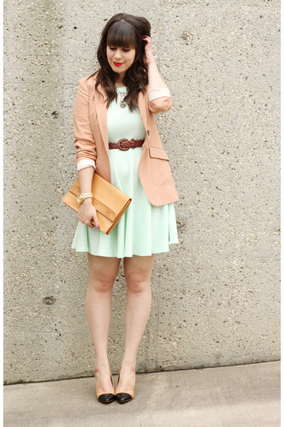 peach H&M blazer - mint green H&M dress - camel Vintage YSL bag