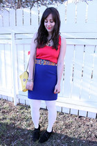 yellow vintage bag - red Club Monaco top - blue vintage skirt - Zara belt