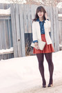 White-h-m-blazer-blue-denim-forever-21-shirt