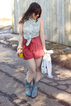sky blue thrifted boots - yellow vintage bag - coral H&M shorts