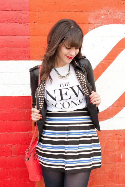 black leather studs Zara jacket - white H&M shirt - coral coach bag