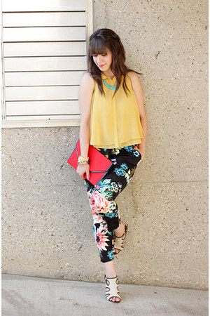 mustard Forever 21 blouse - red vintage bag - black H&amp;M pants
