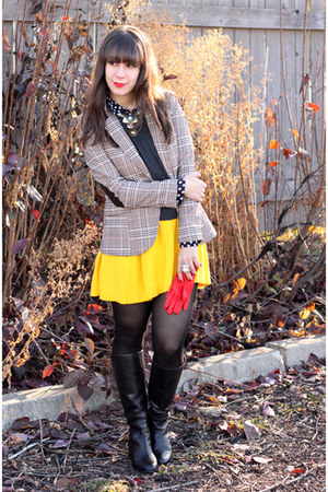 yellow Sonia Rykiel for H&M skirt - black Michael Kors boots - tan H&M blazer