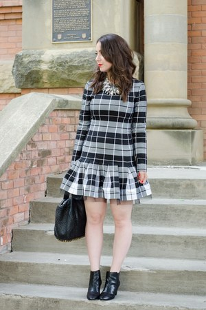black plaid DKNY dress - black ankle boots DKNY boots