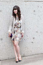 heather gray Loft 82 dress - heather gray Zara blazer - nude Zara pumps