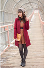 Burnt-orange-darling-dress-brick-red-oxblood-forever-21-coat