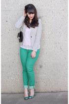 turquoise blue winners jeans - white H&M blazer - turquoise blue Zara heels