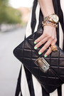Black-crop-top-american-apparel-top-black-quilted-clutch-michael-kors-bag