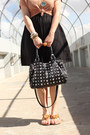 Peach-h-m-top-black-h-m-dress-black-shop-mamie-bag