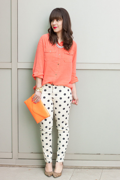 coral Current Elliott blouse - white polka dots Forever 21 jeans
