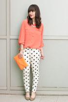 coral Current Elliott blouse - white polka dots Forever 21 jeans