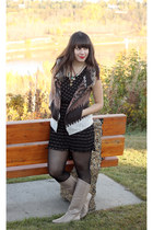 light brown Zara vest - beige Feet First boots - black Forever 21 dress