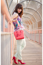 coral crossbody coach bag - mint Joe Fresh jeans - red Shoe Mint pumps