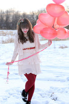 light pink H&M dress - ruby red Forever 21 tights - light pink H&M cardigan