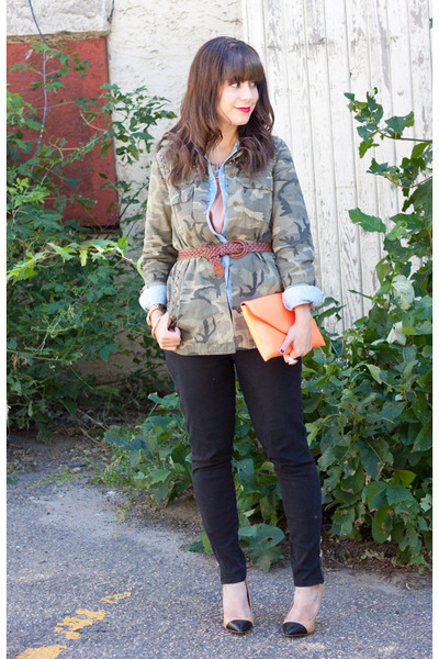 olive green Zara jacket - black Michael Kors jeans - light orange JCrew bag