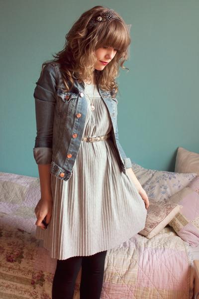 silver H&M dress - blue H&M jacket - black new look leggings - beige Sfera belt