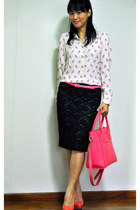 white owl print Zara blouse - hot pink Tocco Tenero bag