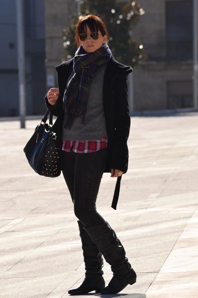 Stradivarius shirt - black Stradivarius coat - Stradivarius scarf - Zara jumper