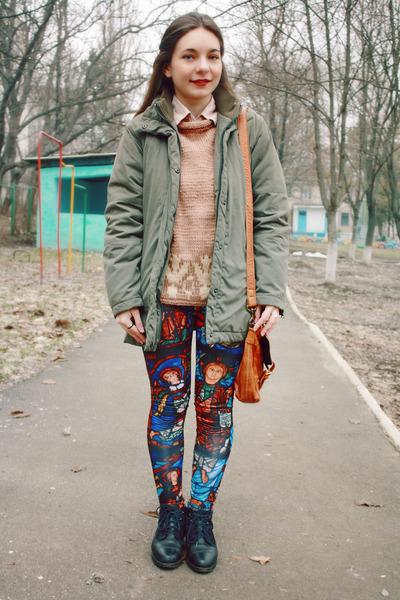 brick red romwe leggings - tawny accesories pieces bag - olive green H&M hoodie