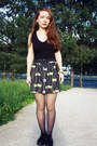 Black-h-m-shirt-yellow-romwe-skirt-black-wholesale-flats
