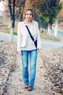 Blue-naf-naf-jeans-ivory-h-m-blouse-gold-sammydress-watch