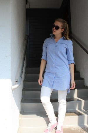 light blue GINA TRICOT shirt - black zeroUV sunglasses - white Zara panties