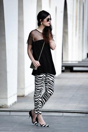 Zara t-shirt - suiteblanco bag - Zara heels - Sheinside pants