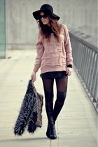 Stradivarius jumper - OASAP coat - OASAP leggings - OASAP ring - H&M wedges