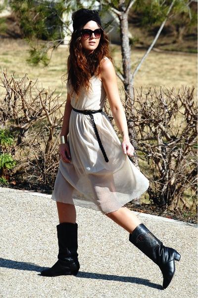 Love dress - vintage boots - asos accessories - romwe bracelet