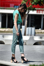 Zara heels - vintage jeans - Zara blouse
