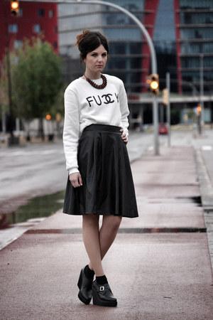 Sheinside sweatshirt - zalando skirt - Deena & Ozzy wedges