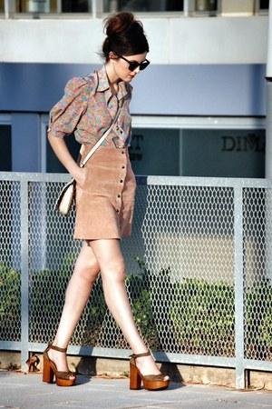 Topshop skirt - OASAP bag - vintage blouse - Les Lolitas heels