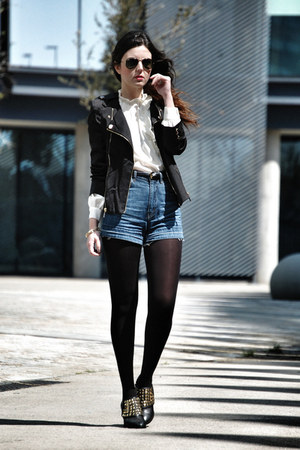 vintage shirt - Zara shoes - Fashion Pills jacket - Maje shorts