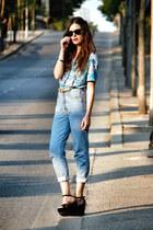 vintage rocco barocco jeans - Jonak shoes - vintage shirt - Ray Ban sunglasses