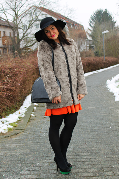 zalando coat - H&M dress - CAPELLI NY hat - Primark heels