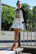 white H&M skirt - black Review jacket - beige sequins GinaTricot top