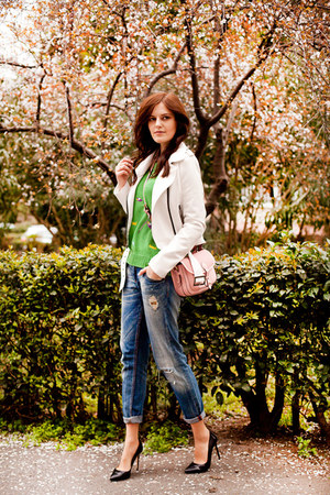 green Wholesale7 sweater - white BB Dakota jacket - bubble gum River Island bag
