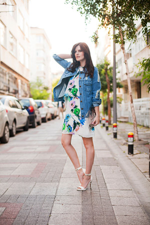 blue Sheinside jacket - white Sheinside dress