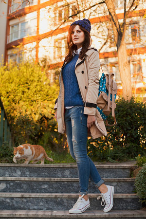 tan BangGood jacket - navy BangGood sweater - blue BangGood bag