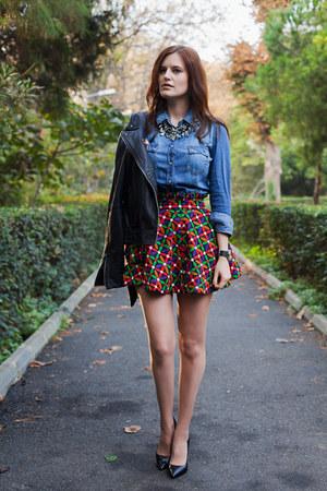 red Let them stare skirt - black Mango jacket - blue Stradivarius shirt