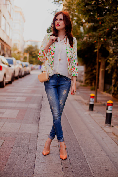 red shein blazer - blue jeans