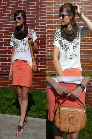 orange H&M skirt - white Topshop blouse