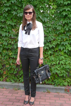 white Marks & Spencer shirt - black River Island bag - black Vero Moda pants