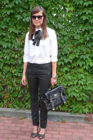 white Marks & Spencer shirt - black River Island bag - black Vero Moda pants
