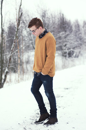 mustard weekday jumper - dark brown Zara boots - Zara jeans