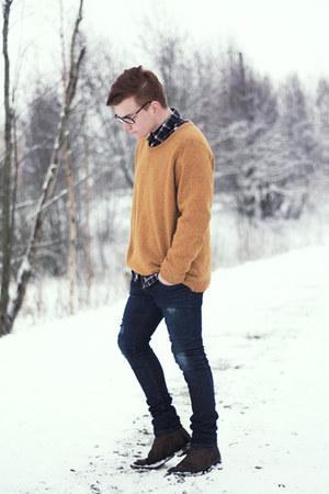 mustard weekday jumper - dark brown Zara boots - Zara jeans